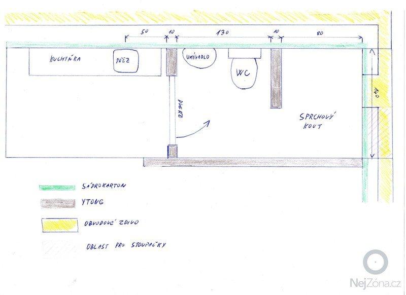 Rozvody vody a odpadu do podkrovi: koupelna