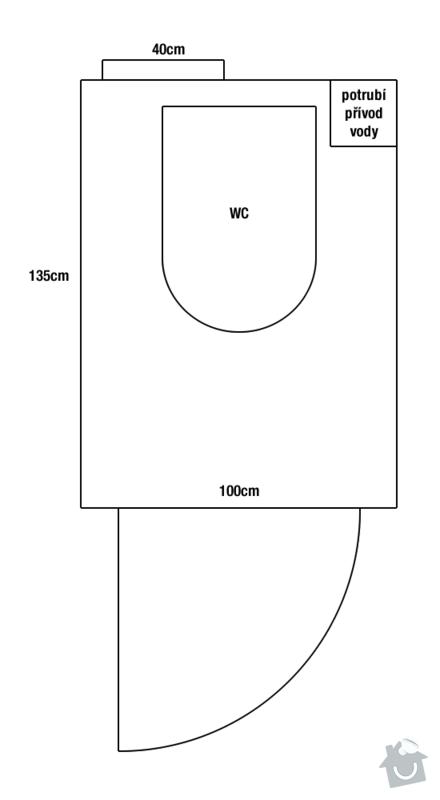 Rekonstrukce WC: pudorys