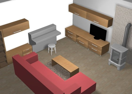 Návrh nábytku do obývacího pokoje včetně realizace