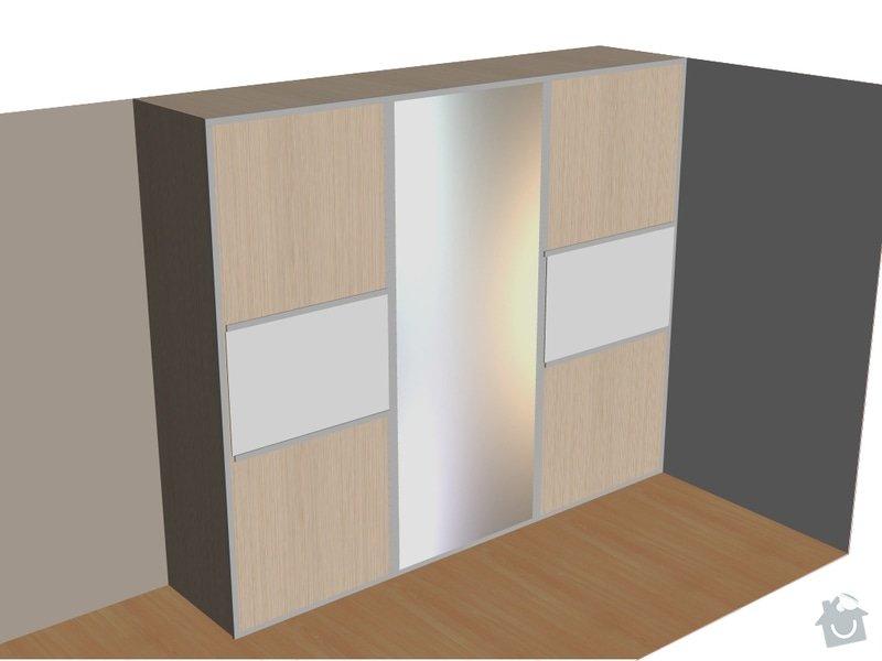 Vestavěná skříň 380 x 250 cm do ložnice: N_dvere_zrcadlo_ml._sklo