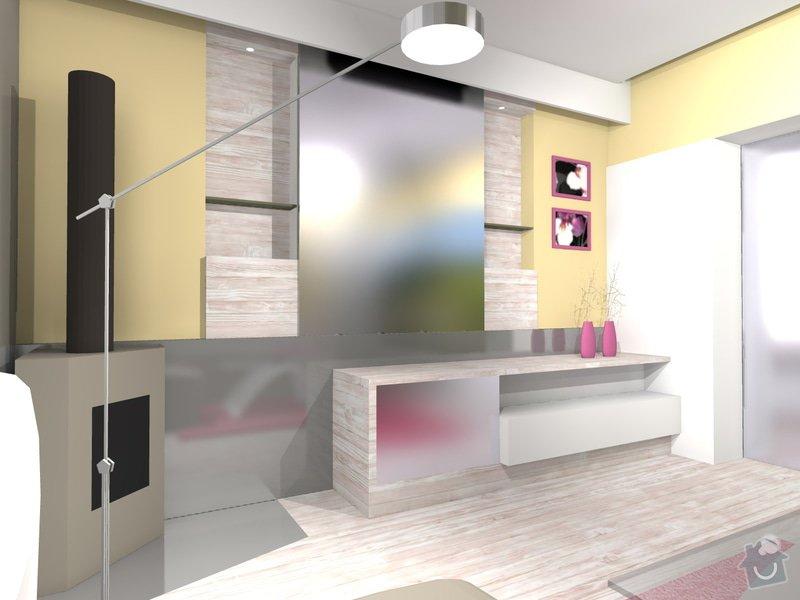 Skříň pod televizi + dřevěné výklenky na zeď do obývacího pokoje: STENA_S_OKNEM