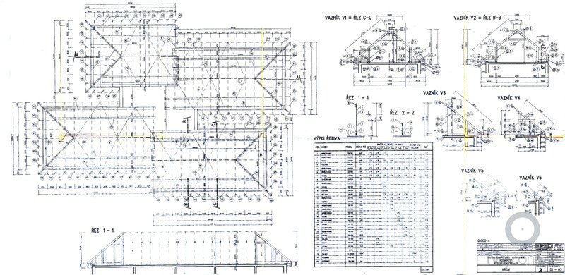 Rekonstrukce 4 valbových střech 339m2: plan-krov