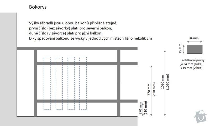 Oprava balkonového zábradlí: bokorys