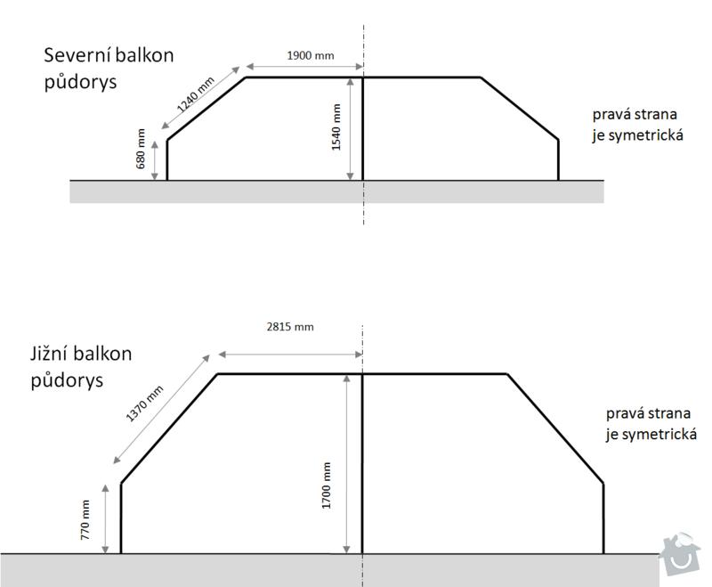 Oprava balkonového zábradlí: pudorys