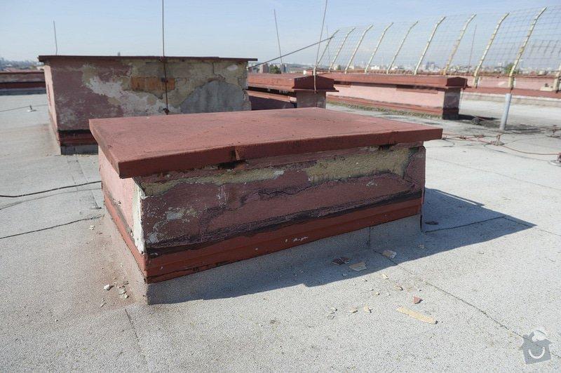 Drobné zednické opravy omítek atikových zdí a stěn šachet na ploché střeše: objekt2197-40