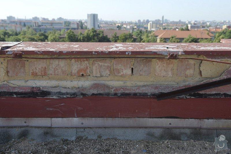 Drobné zednické opravy omítek atikových zdí a stěn šachet na ploché střeše: objekt2197-13