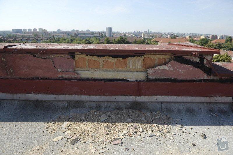 Drobné zednické opravy omítek atikových zdí a stěn šachet na ploché střeše: objekt2197-23
