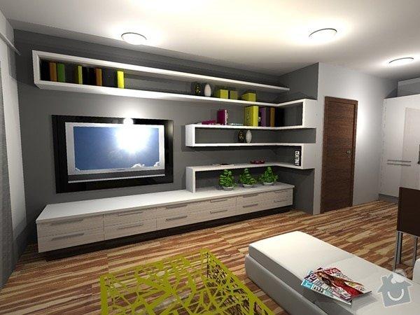 Nábytek na míru do obývacího pokoje, jídelny a chodby: policky