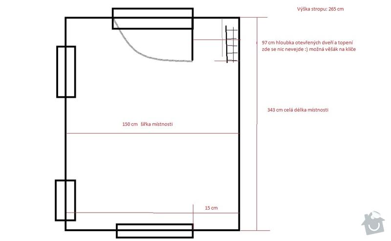 Nábytek na míru do obývacího pokoje, jídelny a chodby: planek_chodba