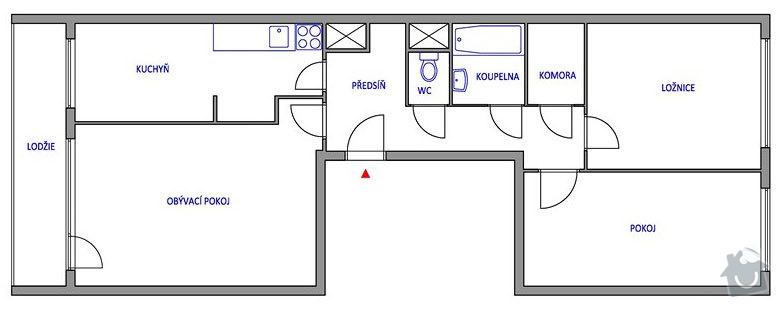 Rekonstrukce bytového jádra + položení lina: dispozice_puvodni_stav