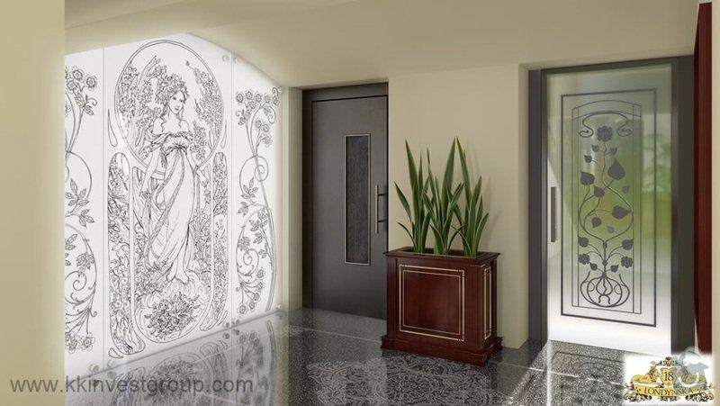 Přelakování výtahových dveří: Chodba_vytah