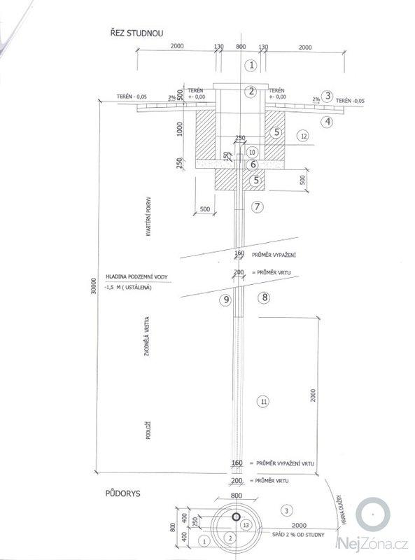 Trubní studna, stavební dokončení zkušebního vrtu a : Projekt_trubni_studny_nakres
