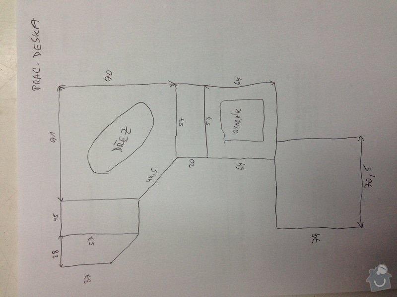 Montaz pracovní a obkladové desky do stávájící kuchynske linky : DESKA