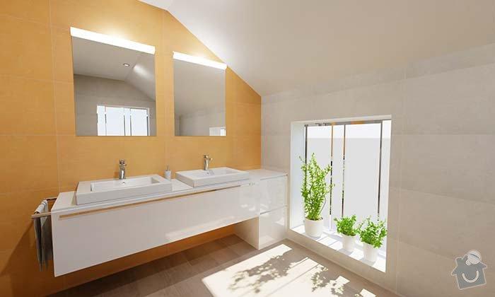 Dvě moderní koupelny v novostavbě RD - návrh: 01_moderni_zluta_koupelna_1