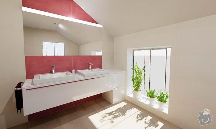Dvě moderní koupelny v novostavbě RD - návrh: 03_moderni_cervena_koupelna_1