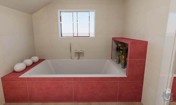 Dvě moderní koupelny v novostavbě RD - návrh: 04_moderni_cervena_koupelna_2