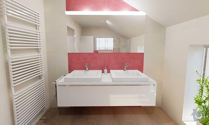 Dvě moderní koupelny v novostavbě RD - návrh: 07_moderni_cervena_koupelna_3