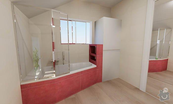 Dvě moderní koupelny v novostavbě RD - návrh: 08_moderni_cervena_koupelna_4