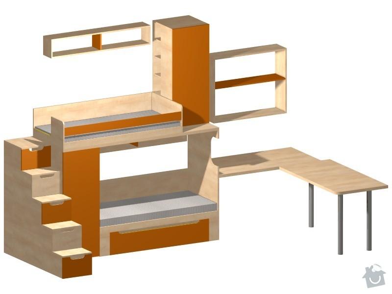 Zaměření, výroba, dodávka a montáž dětského pokoje.: brevny_pohled_4.