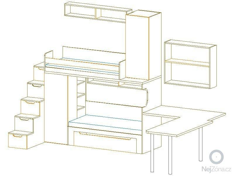 Zaměření, výroba, dodávka a montáž dětského pokoje.: pohled_2