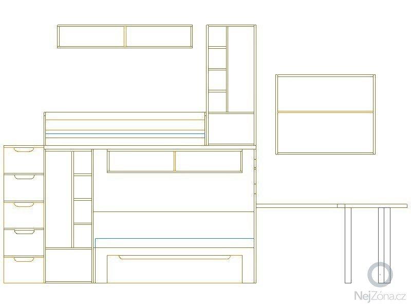 Zaměření, výroba, dodávka a montáž dětského pokoje.: pohled_3.
