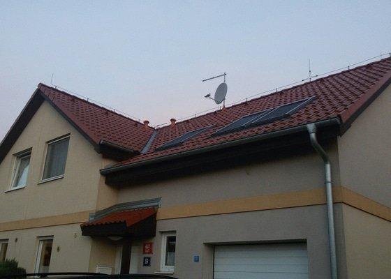 Výměna tašky na střeše, uzemnění antény+revize komínu