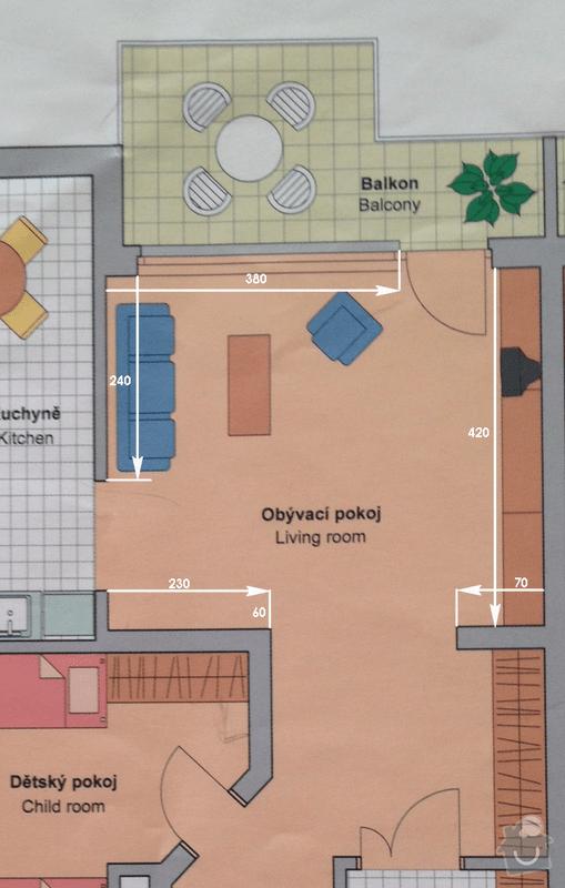 Návrh interiéru obývacího pokoje: NJ_pudorys