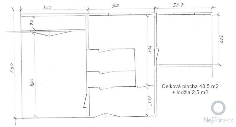 Komplexní rekonstrukce 2+1 včetně nového jádra a podlah: pudorys_bytu_Doubravka_ponuka