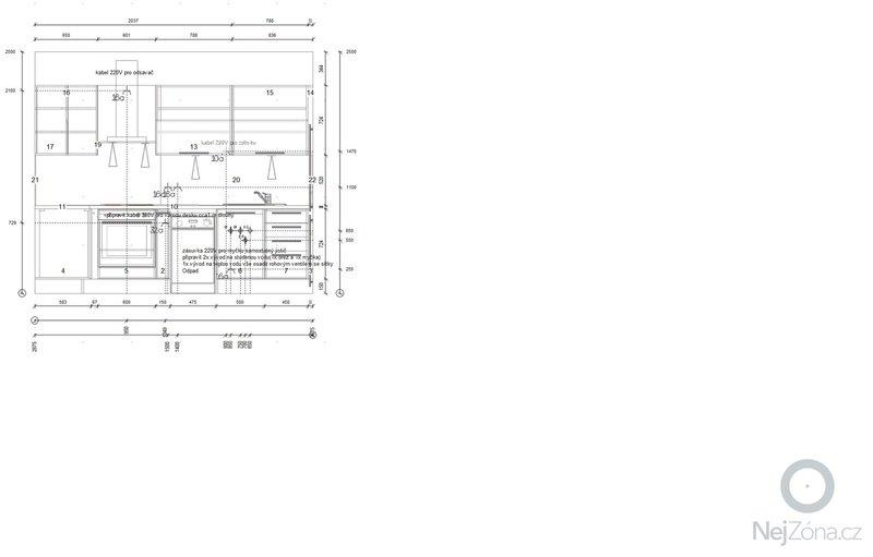 Příprava instalací (elektro, voda, odpad) pro kuchyňskou linku: Instalace_strana_A