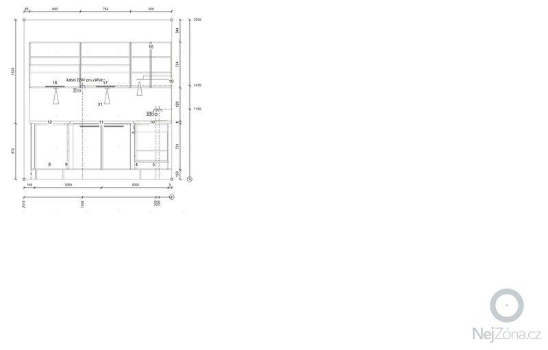 Příprava instalací (elektro, voda, odpad) pro kuchyňskou linku: Instalace_strana_B