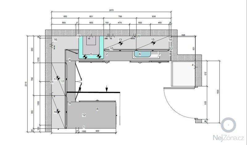 Příprava instalací (elektro, voda, odpad) pro kuchyňskou linku: pudorys