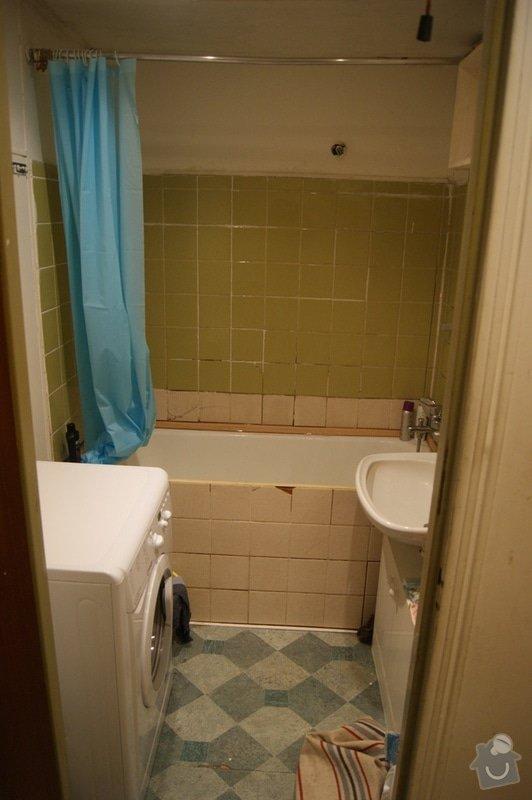 Rekonstrukce bytového jádra v paneláku Praha 5: koupelna