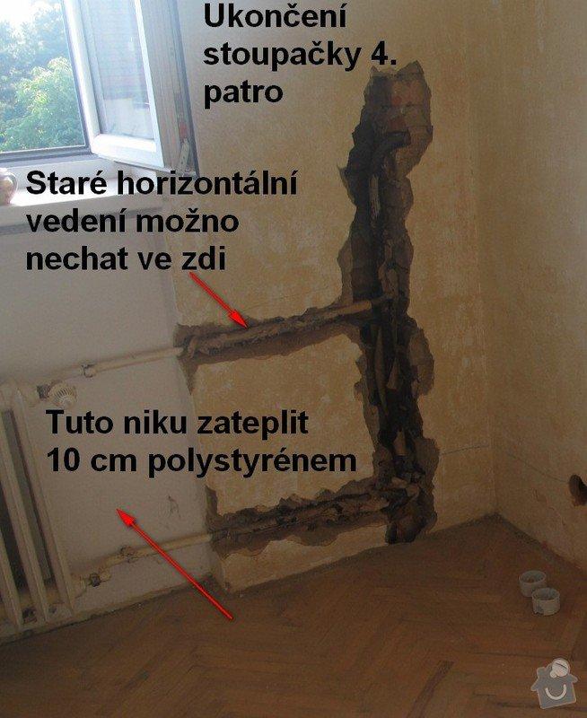 Výměna stoupačky topení a napojených těles v 4 patrovém domě: Rekonstruke-2013-Stoupacka-stara-4patro