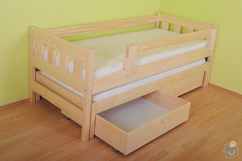 Drevena postel, jednoluzko 200X90cm s přistýlkou a úložným prostorem a zábranou: postel_2