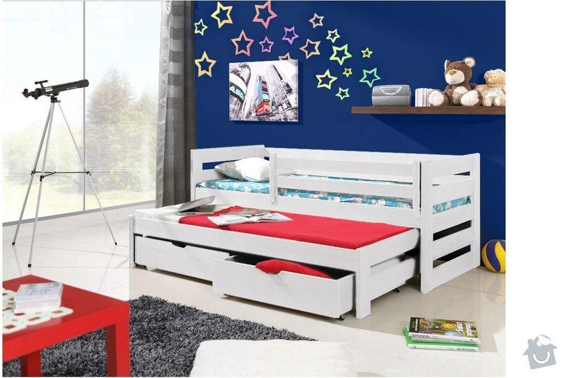 Drevena postel, jednoluzko 200X90cm s přistýlkou a úložným prostorem a zábranou: postel_3