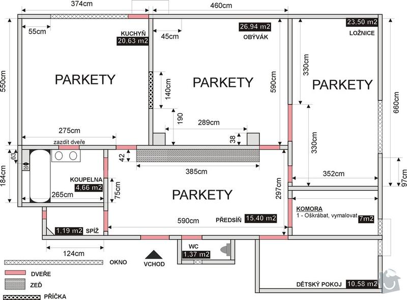 Kompletní Škrábání, Ošetření, Malování - Stěny + Strop. Byt velikosti 115m2: byt_detaily_1-1