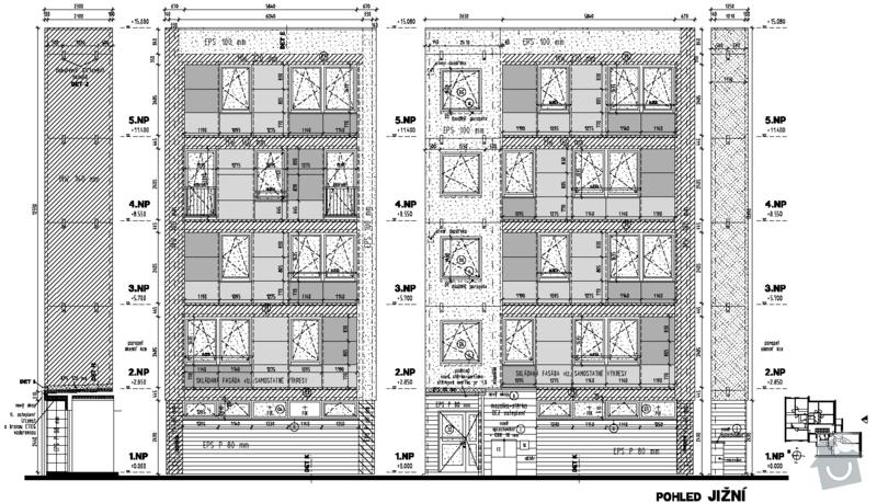 Projekt zateplení stávajícího panelového bytového domu: 02_pohled_jizni_novy