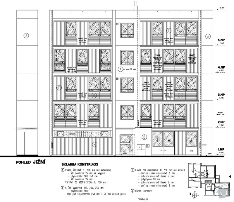 Projekt zateplení stávajícího panelového bytového domu: 01_pohled_jizni_stavajici