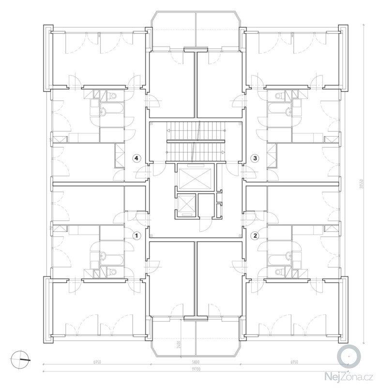 Projekt kompletního zateplení panelového bytového domu s rozšířením stávajících lodžií: z_pudorys