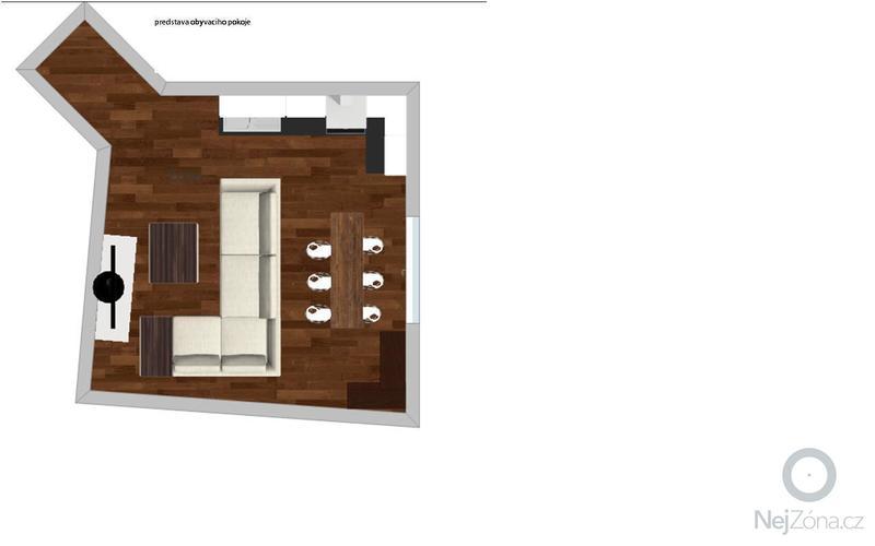 Částečná rekonstrukce bytu: zednické, instalatéřské práce, vyhotovení kuchyňské linky na míru, pokládka dlažby 30 m2, malířské práce 180 m2, návrh 2 pokojů od bytového architekta: obyvaci_pokoj