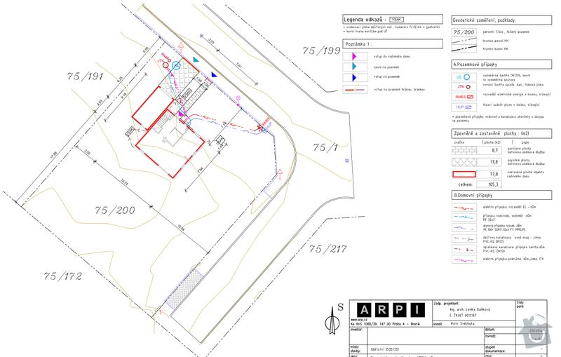 Realizace zámkové dlažby, srovnání terénu, napojení okapových svodů: planek