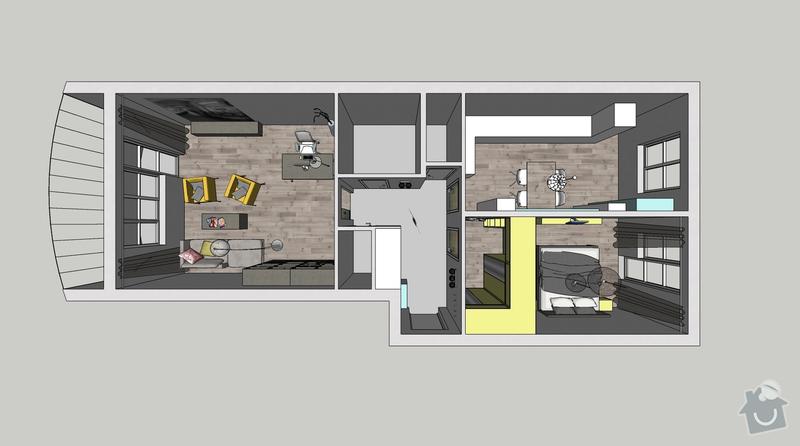Rekonstrukce bytu: okna, dveře, podlahy, malířské práce, výměna světel: 001