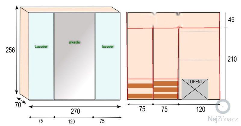 Vstavana skrina biela: nakres-1