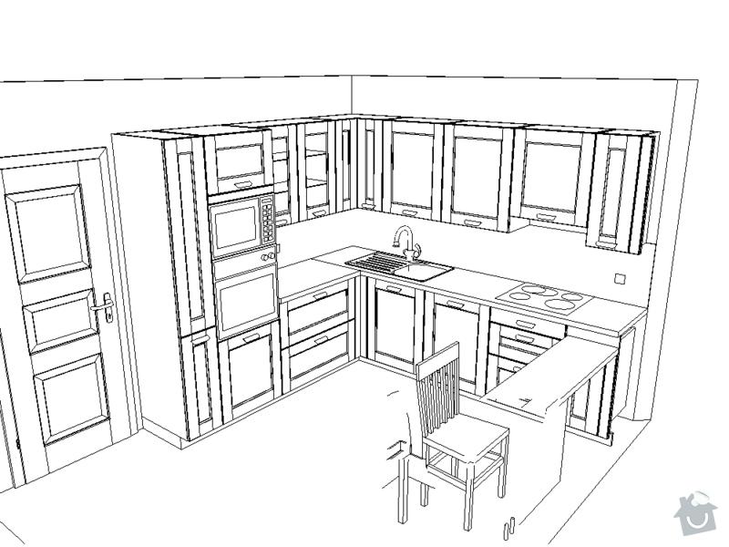 Kuchyně: Steinerovi_perspektiva_perokresba