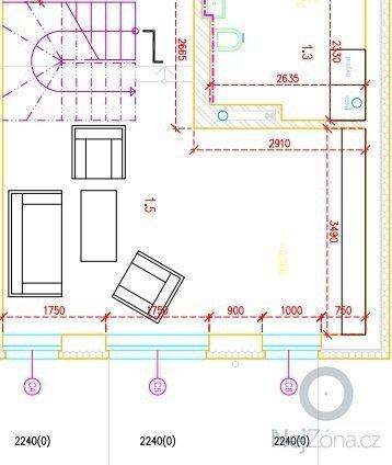 Návrh a výroba moderní obývací stěny, knihovny a konferenčního stolu: pudorys_obyvaci_pokoj