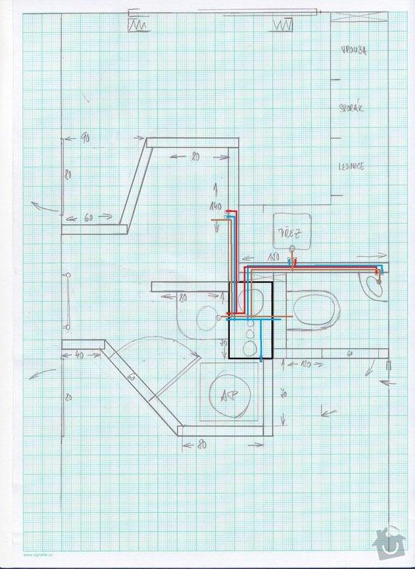 Rekonstrukce jádra - panelákové jádro: finalni_jadro_-_voda_odpad
