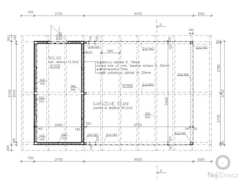 Zamecnicke prace - stavba pristresku na auta s kolnou: Pudorys_1NP
