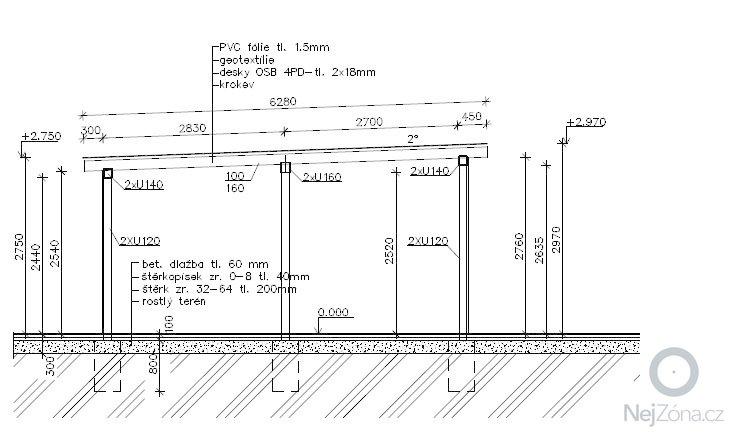 Zamecnicke prace - stavba pristresku na auta s kolnou: Rez_A