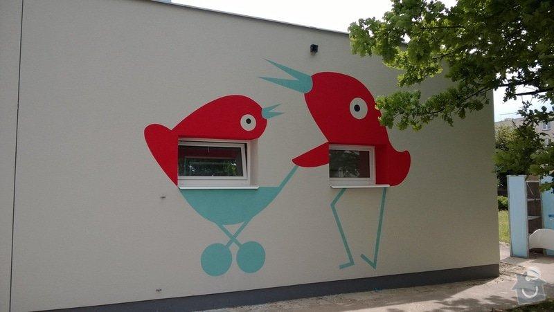 Dekorativní malby na fasádu školky v Dobrušce: Dekorativni_malba_na_fasadu_abstraktni_ptaci_MS_Dobruska_5_