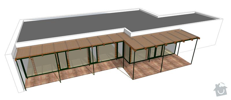 Návrh pergoly k terase rodinného domu: 01_nahled